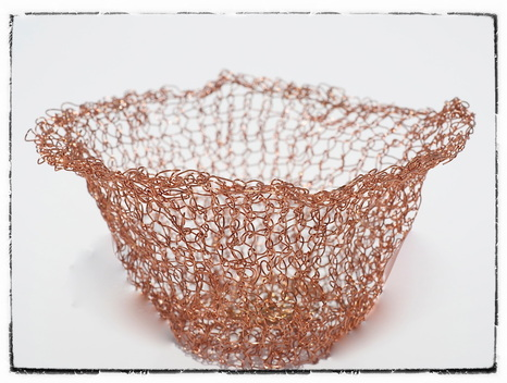 Handmade knitted wire bowl by zed handmade