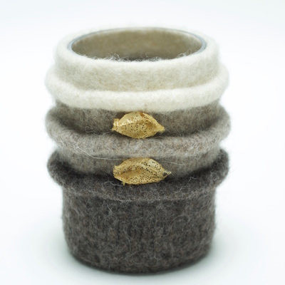 BOL vase is hand felted and glass lined, ridged design in a combination of 3 neutral colors adorned with silk worm cocoons