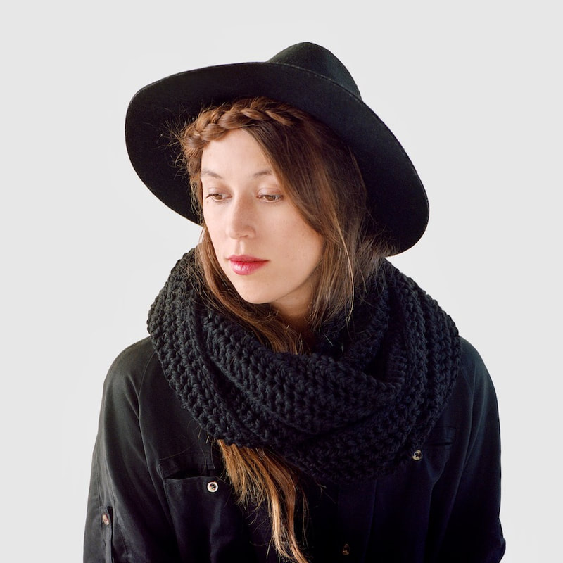JULES hand knit wool infinity scarf in black from zed handmade