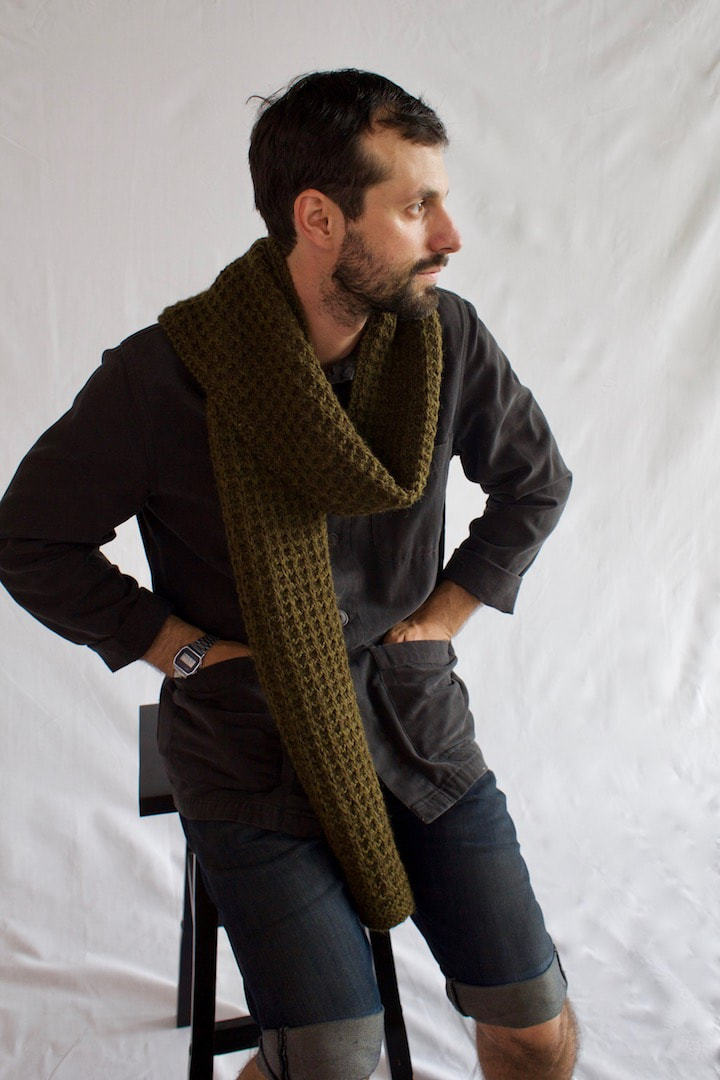 MENSCH highly-textured hand knit scarf in olive drab Peruvian highland wool
