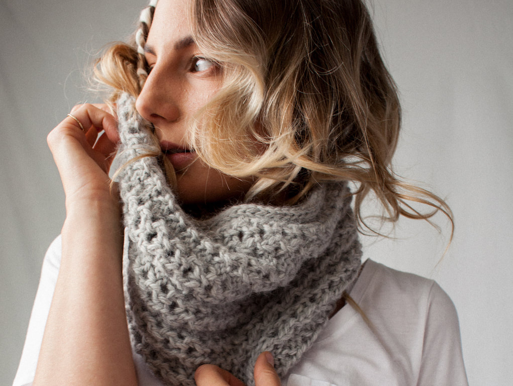 Ocho is a hand knit sterling cowl made with 100% Peruvian alpaca wool