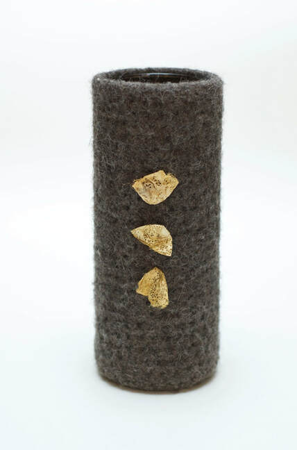 BOL vase gunmetal color is glass-lined & hand-felted from zed handmade