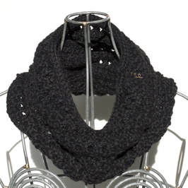 Ocho is a hand knit black cowl made with 100% Peruvian alpaca wool
