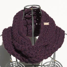 Ocho is a hand knit blackberry coloured cowl made with 100% Peruvian alpaca wool