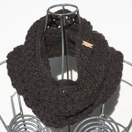 Ocho is a hand knit ebony coloured cowl made with 100% Peruvian alpaca wool