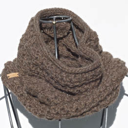 Ocho is a hand knit milk chocolate coloured cowl made with 100% Peruvian alpaca wool