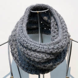 Ocho is a hand knit steel coloured cowl made with 100% Peruvian alpaca wool