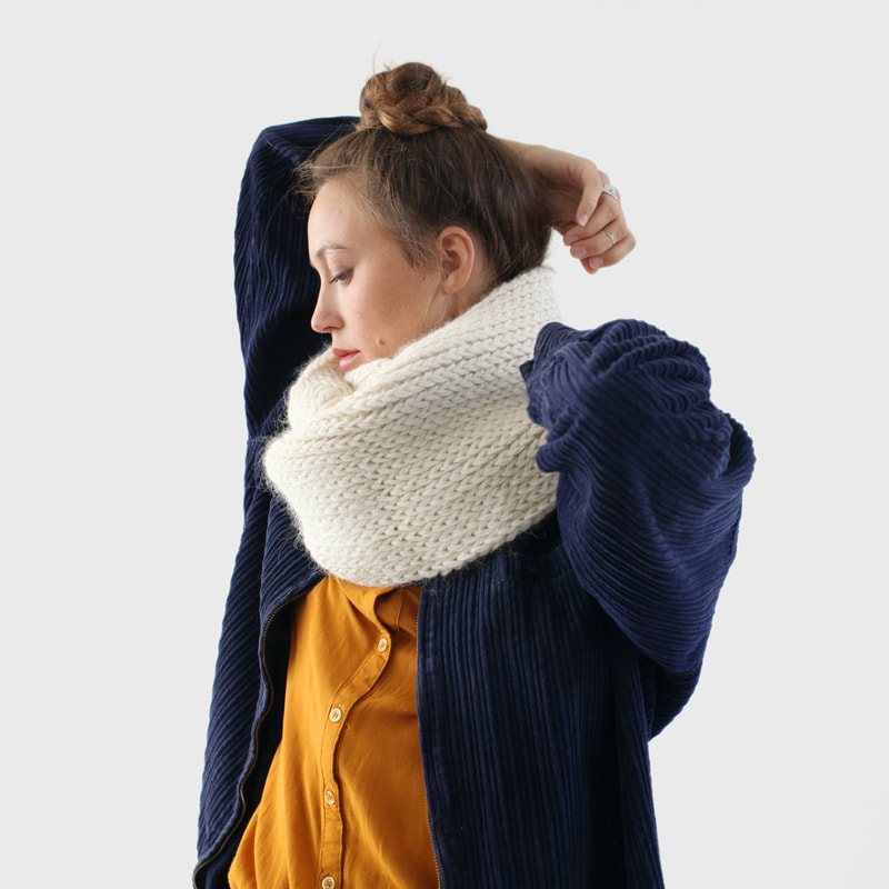 SOPHIE hand knit cowl in natural Peruvian alpaca wool