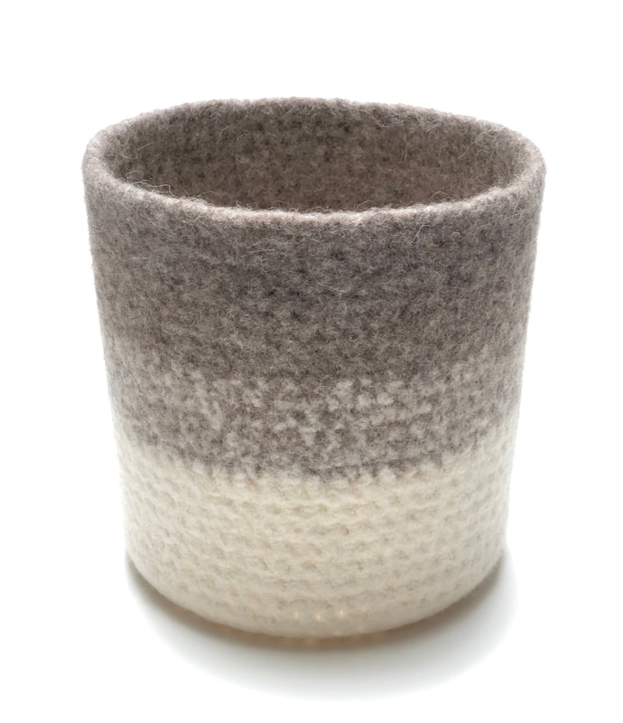 ALTO is a large tall felted vessel in putty & cream wool