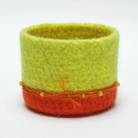BOL canary | tomato is a hand felted and hand trimmed felt vessel from zedhandmade.com