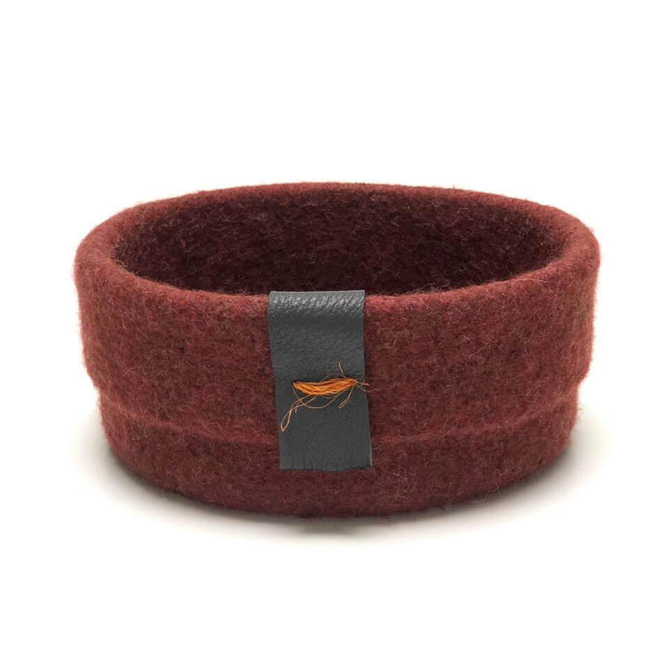 CUFF extra large felted vessel in brick wool with leather trim and orange fiqué thread