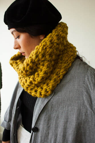 HUXLEY hand knit cowl in pewter Peruvian highland wool