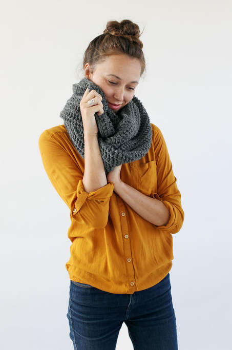 JULES hand knit cowl in steel coloured wool