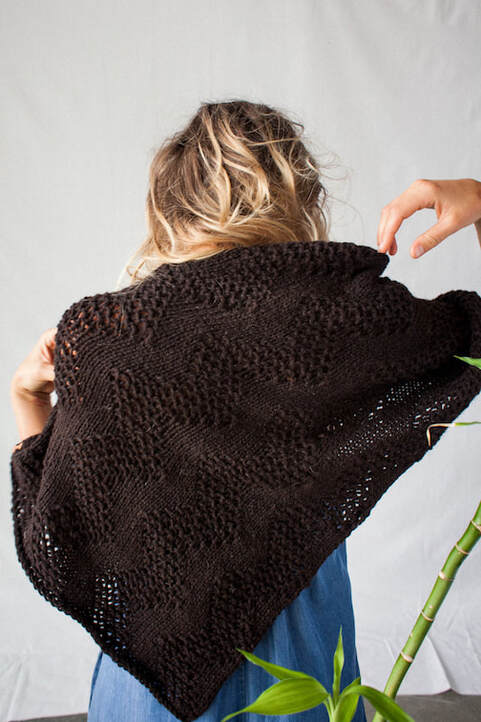 LUCE Warmer hand knit wool poncho in ebony