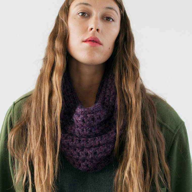 OCHO hand knit cowl in blackberry alpaca wool
