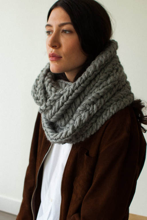 RIVA GRANDE hand knit long cowl in dried sage Peruvian highland big wool
