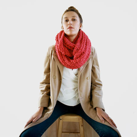 RIVA Grande hand knit wool infinity scarf in poinsettia