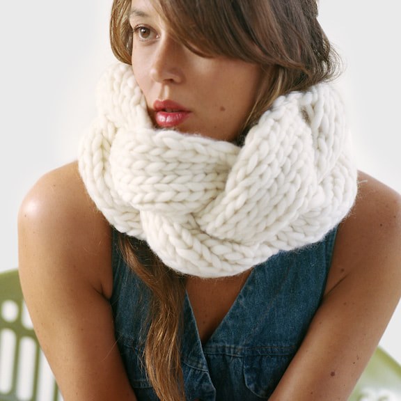 EMME hand knit cowl in natural wool