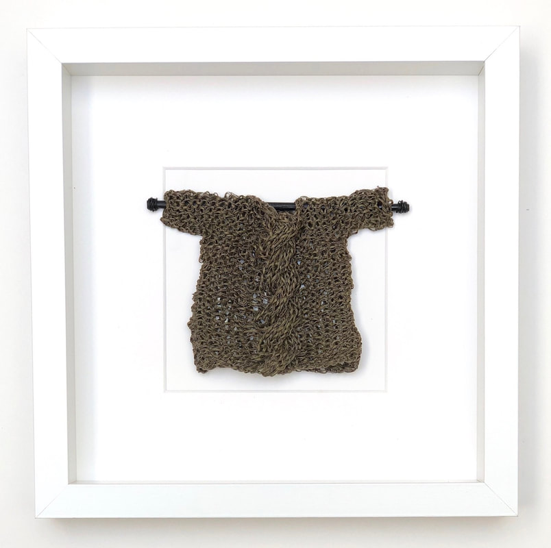 FRAMED - olive green japanese cotton knitted sweater  9x9 zed handmade