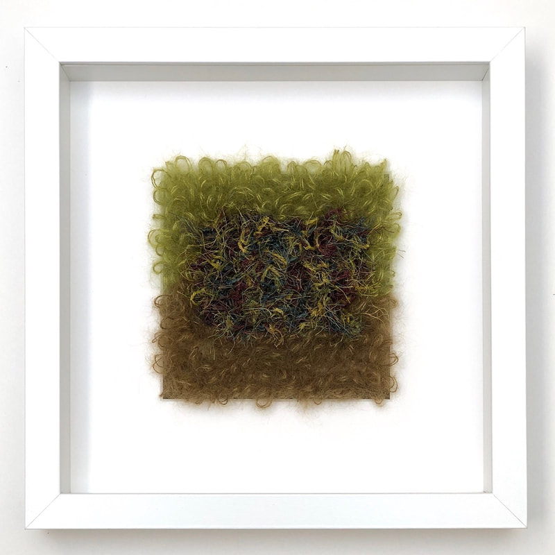 FRAMED - loopy stitches of silk + mohair in garden's edge color combinations  9x9 zed handmade