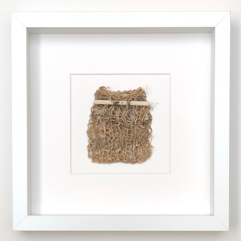 FRAMED - hemp knitted into a pouch, finished with an antique bone mah jong counter 9x9 zed handmade