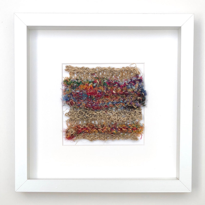 FRAMED - hemp + multi-coloured raw silk knitted into a highly textured square  9x9 zed handmade