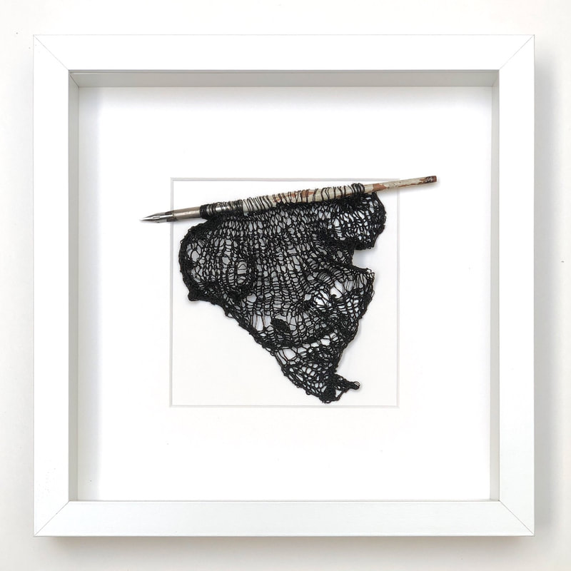 FRAMED - antique fountain pen dripping with ink-coloured silk-wrapped stainless steel knitted into a shape 9x9 zed handmade