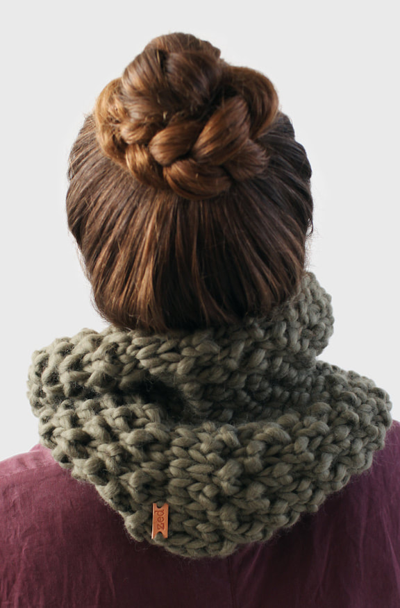 HUXLEY hand knit cowl in dried sage wool