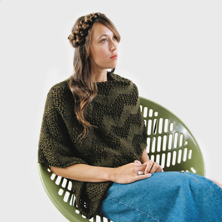 LUCE Warmer hand knit poncho in olive drab wool