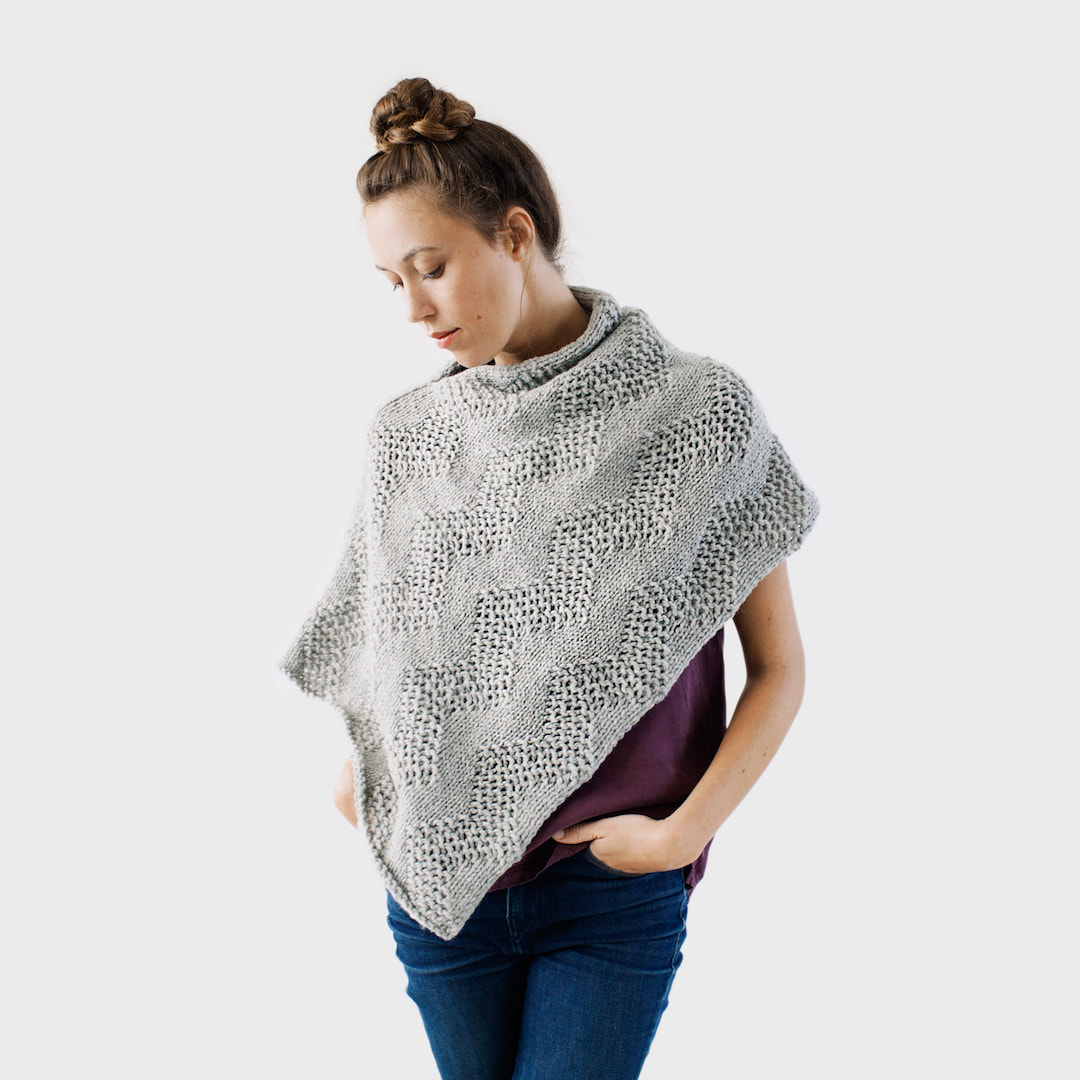 LUCE Warmer hand knit wool poncho in sterling