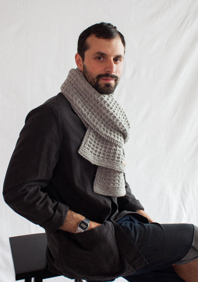 MENSCH highly-textured hand knit scarf in sterling Peruvian highland wool