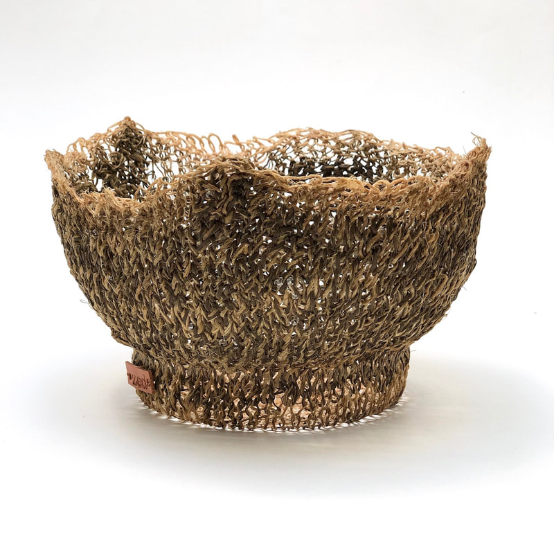 OCEAN SHORE is a hand-knitted vessel made with hemp, japanese cotton + linen, clear beads by zed handmade