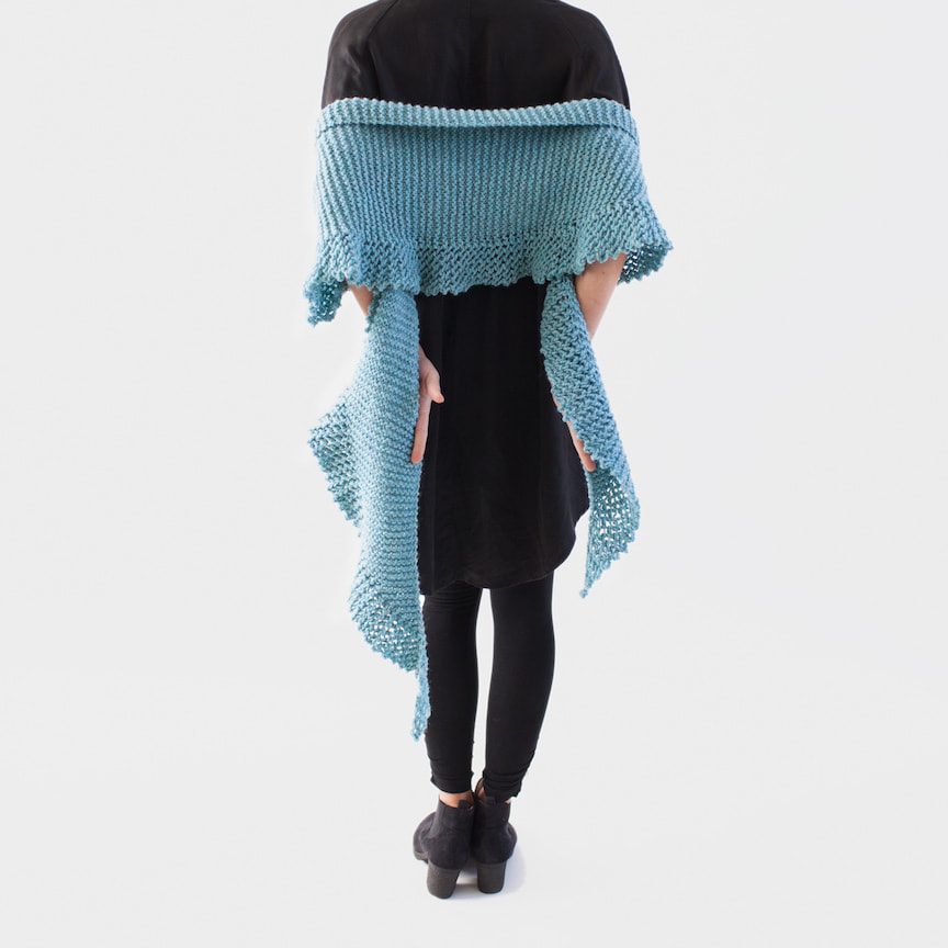 PHIN hand-knit shaped scarf in sea foam Peruvian highland wool