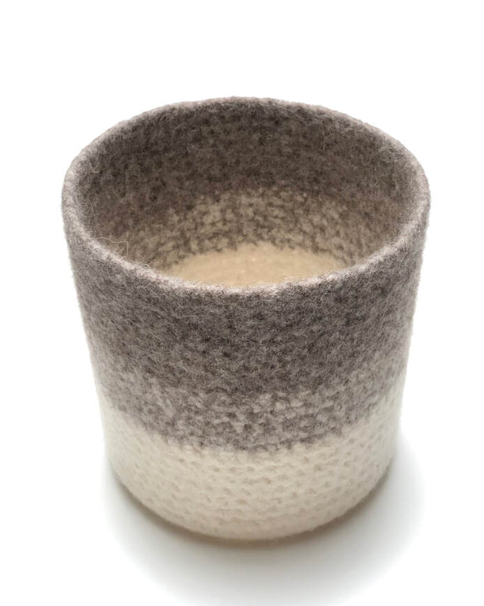 ALTO is a large tall felted vessel in putty & cream wool (inside view)