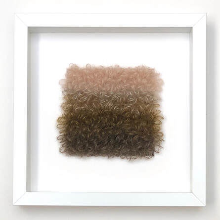 FRAMED - loopy stitches of silk + mohair in forest floor color combinations  9x9 zed handmade
