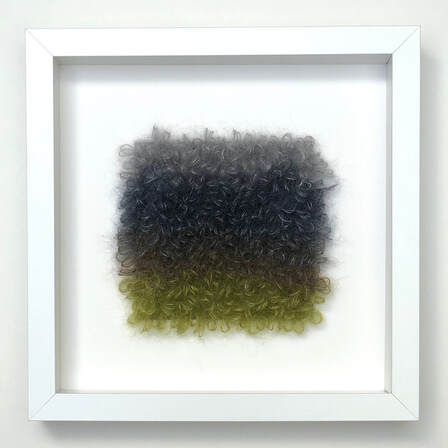 FRAMED - loopy stitches of silk + mohair in water's edge color combinations  9x9 zed handmade
