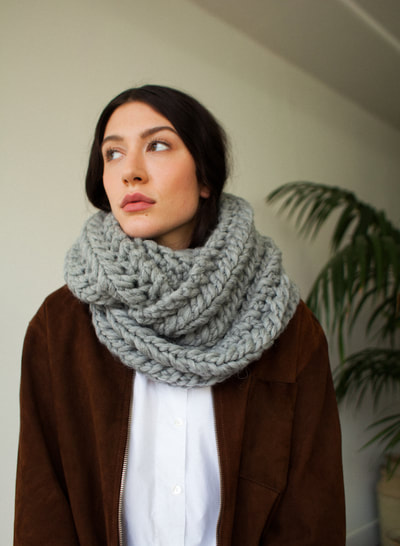 RIVA Grande hand knit wool infinity scarf from zedhandmade.com